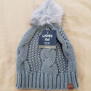Women's Gray Knit Fall Winter Beanie Hat One Size